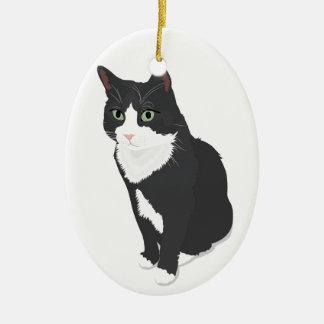 Tuxedo Cat Ceramic Oval Decoration
