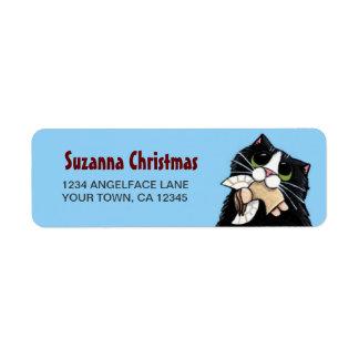Tuxedo Cat & Christmas Angel Return Address Label