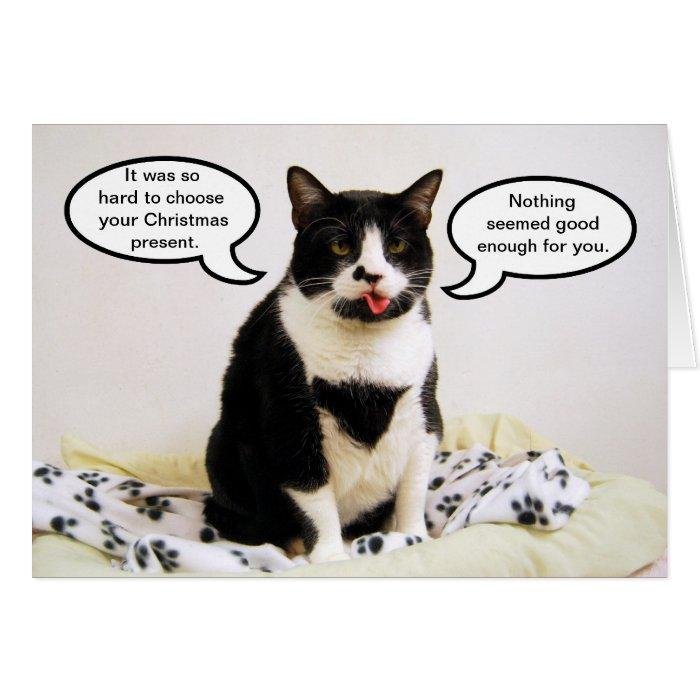 Tuxedo Cat Christmas Humour Card | Zazzle