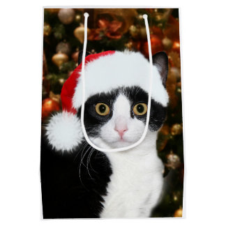 Tuxedo cat Christmas Medium Gift Bag
