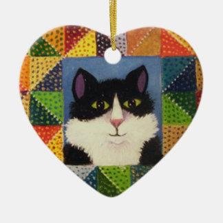 Tuxedo Cat Christmas ornament