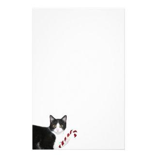 Tuxedo cat Christmas Stationery