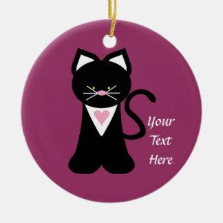 Tuxedo Cat (customizable) Ceramic Ornament