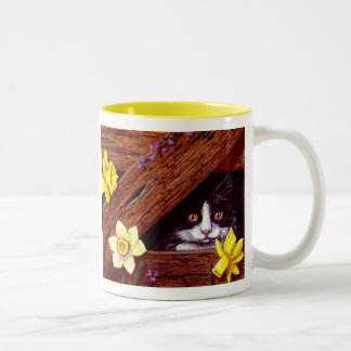 Tuxedo Cat Daffodils Art Creationarts Two-Tone Coffee Mug