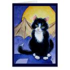 Tuxedo Cat Halloween Gargoyle card or invitation