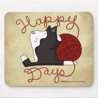 Tuxedo Cat- Happy Days Mouse Pad
