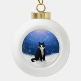 Tuxedo Cat in the Snow Ceramic Ball Christmas Ornament
