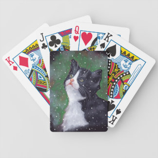 Tuxedo Cat Looking Up At Snowflakes, Painting Bicycle Playing Cards