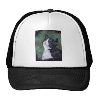 Tuxedo Cat Looking Up At Snowflakes, Painting Cap