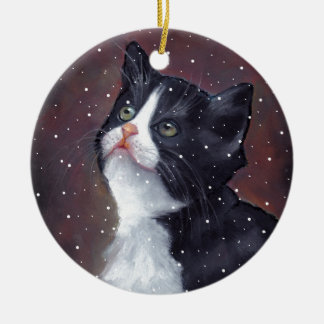 Tuxedo Cat Looking Up At Snowflakes, Painting Ceramic Ornament