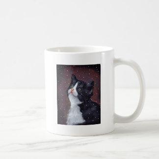 Tuxedo Cat Looking Up At Snowflakes, Painting Coffee Mug
