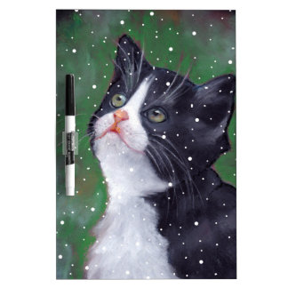 Tuxedo Cat Looking Up At Snowflakes, Painting Dry Erase Board