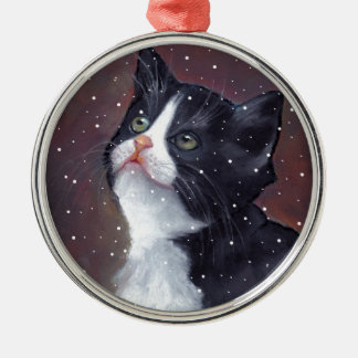 Tuxedo Cat Looking Up At Snowflakes, Painting Metal Ornament
