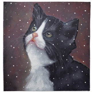 Tuxedo Cat Looking Up At Snowflakes, Painting Napkin