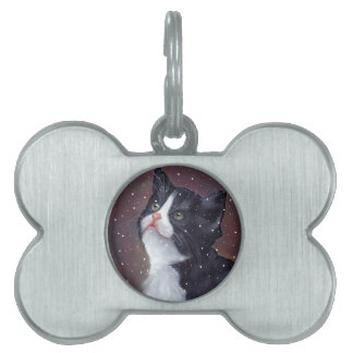 Tuxedo Cat Looking Up At Snowflakes, Painting Pet Name Tag
