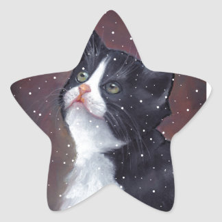 Tuxedo Cat Looking Up At Snowflakes, Painting Star Sticker