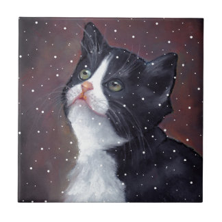 Tuxedo Cat Looking Up At Snowflakes, Painting Tile