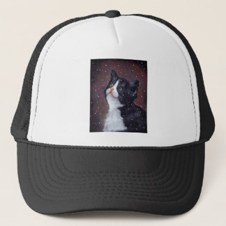Tuxedo Cat Looking Up At Snowflakes, Painting Trucker Hat