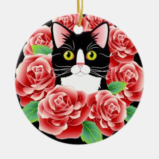 Tuxedo Cat Love cute rose kitty round ornament