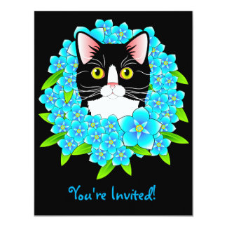 Tuxedo Cat Lover's Customisable Invitation Kitty