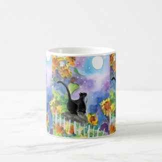 Tuxedo Cat Moon in Sunflowers Coffee Mug