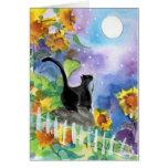 Tuxedo Cat Moon in Sunflowers Greeting Card