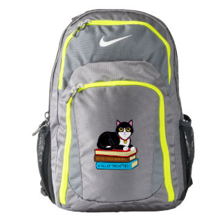 Tuxedo Cat on Books Backpack