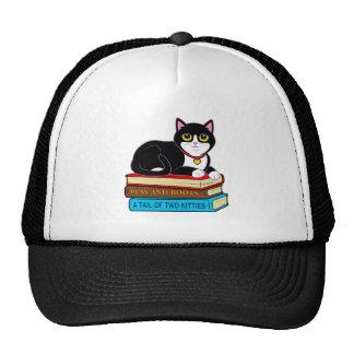 Tuxedo Cat on Books Cap