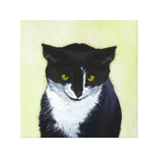 Tuxedo Cat Painting - Cute Original Cat Art Canvas Print