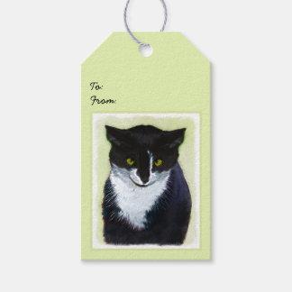 Tuxedo Cat Painting - Cute Original Cat Art Gift Tags
