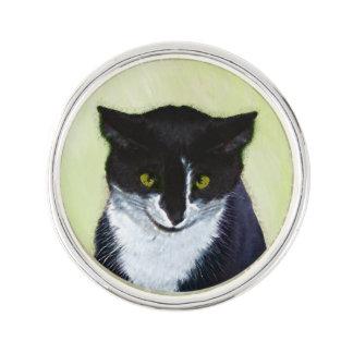 Tuxedo Cat Painting - Cute Original Cat Art Lapel Pin