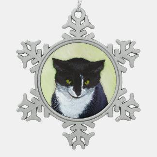 Tuxedo Cat Painting - Cute Original Cat Art Snowflake Pewter Christmas Ornament