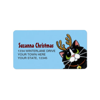Tuxedo Cat Reindeer Christmas Address Label