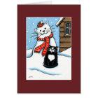 Tuxedo Cat, Robin & Snowman Christmas Card