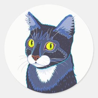 Tuxedo Cat Round Sticker