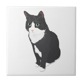 Tuxedo Cat Small Square Tile