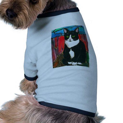 Tuxedo Cat Stained Glass Design Art T-Shirt Ringer Dog Shirt