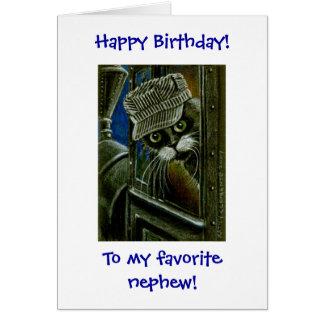 Tuxedo Cat Train Conductor Birthday Card
