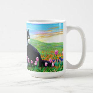 Tuxedo Cat Tulips Creationarts Coffee Mug