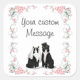 Tuxedo Cat Wedding Customizable Square Sticker