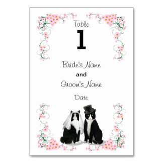 Tuxedo Cat Wedding (text on 1 side) Table Card