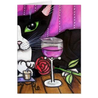 Tuxedo Cat Wine Card