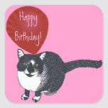 Tuxedo Cat with Balloon Happy Birthday Stickers