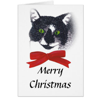 Tuxedo Cat with Red Bow Christmas Cards