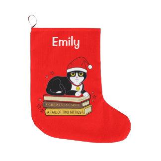 Tuxedo Christmas Cat Bell Books Name Customizable Large Christmas Stocking