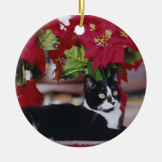 Tuxedo Christmas Cat Ceramic Ornament