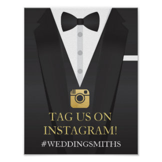 Tuxedo Instagram Bow Tie Sign Wedding Reception