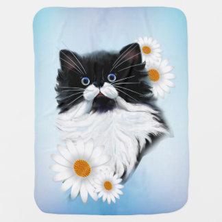 Tuxedo Kitten Face Baby Blanket