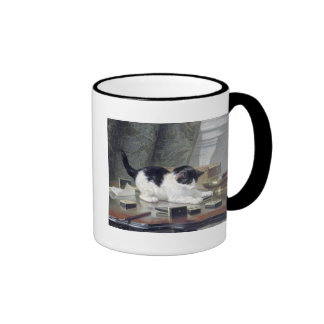 Tuxedo kitten playing dominoes painting gift ringer mug