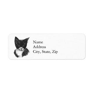 Tuxedo Kitten Return Address Label